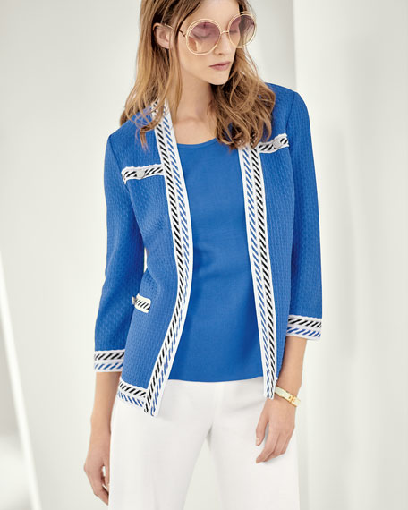 Contrast-Trim Textured Jacket, Plus Size