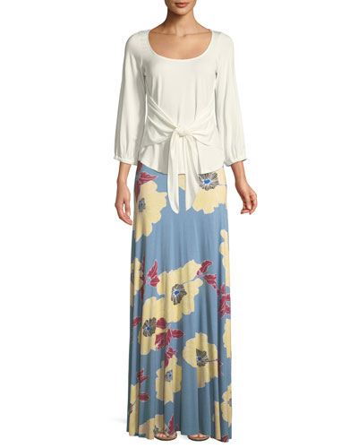 Floral-Print Jersey Maxi Skirt and Matching Items