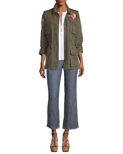 Floral-Embroidered Camouflage Twill Jacket and Matching Items