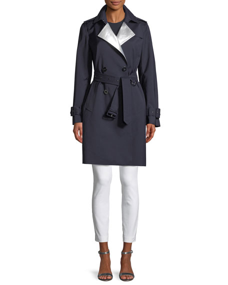 Natania Contrast-Face Double-Breasted Coat