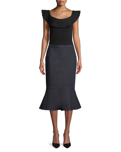 Eavanna Flounce-Hem Pencil Skirt and Matching Items