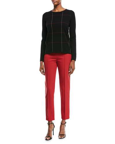 Crewneck Long-Sleeve Grid-Stitch Pullover Top and Matching Items