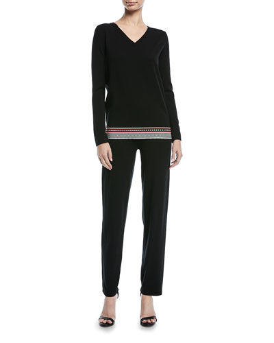 Fair-Isle Straight-Leg Pants with Side Trim and Matching Items