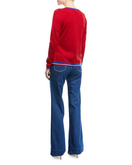 Crewneck Button-Front Long-Sleeve Wool Cardigan