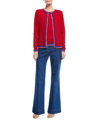 Crewneck Button-Front Long-Sleeve Wool Cardigan and Matching Items