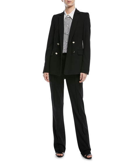 Double-Breasted Long-Sleeve Crepe Jersey Jacket