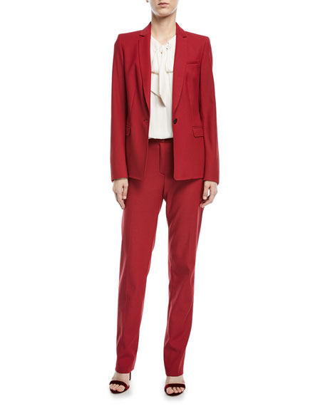 Notch-Lapel One-Button Tailored Wool-Blend Blazer