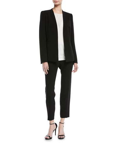 Open-Front No Collar Long-Sleeve Crepe Jacket and Matching Items