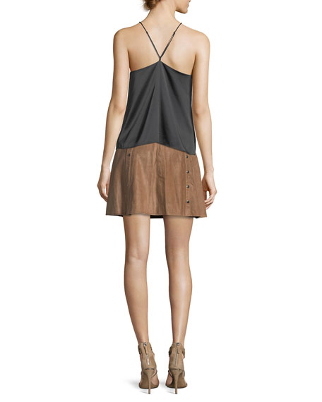 Cross My Heart Lace-Front Silk Camisole Top