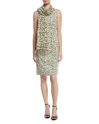 Sleeveless Side-Button Lemon-Print A-Line Dress and Matching Items