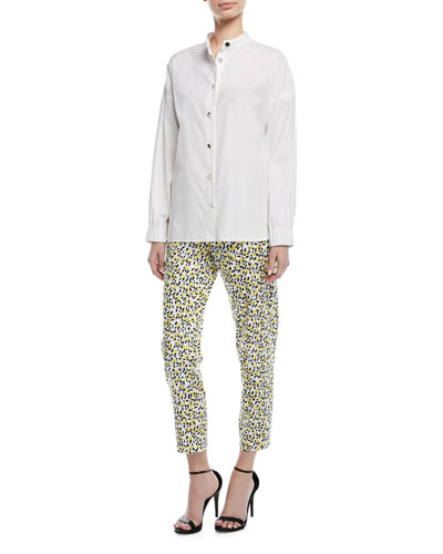 Button-Front Long-Sleeve Twill Shirt and Matching Items