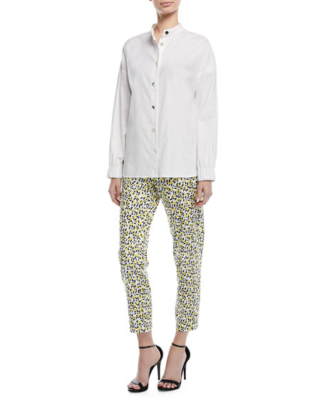 Button-Front Long-Sleeve Twill Shirt