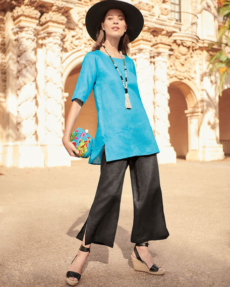 Tissue Linen Front-Pocket Tunic
