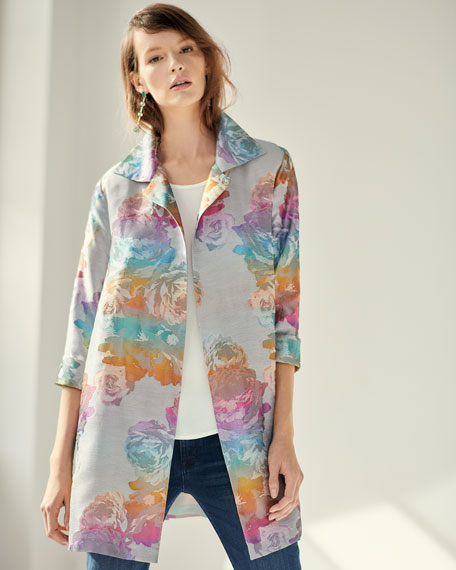 Ombre Rose Jacquard Party Jacket, Plus Size