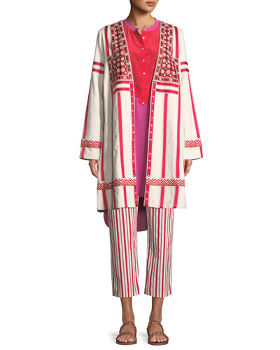 Liraz Striped Open-Front Caban Jacket with Embroidered Yoke and Matching Items