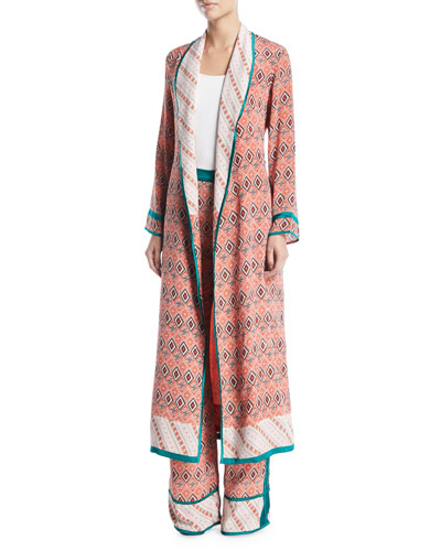 Almasi-Print Silk Robe Coat with Self-Tie Belt and Matching Items
