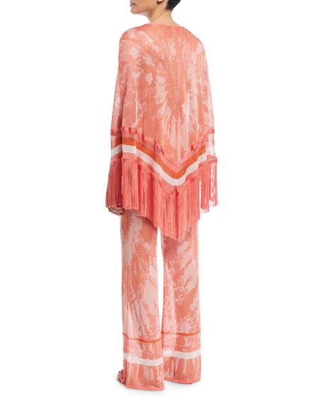 Tie-Dye Poncho Top with Fringe Hem