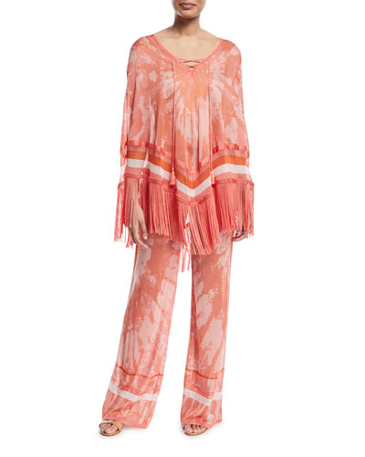Tie-Dye Poncho Top with Fringe Hem and Matching Items