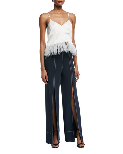 Narcissa V-Neck Silk Satin Tank with Feather Hem and Matching Items