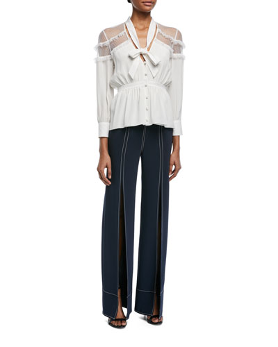 Peyton Tie-Neck Button-Front Silk Blouse and Matching Items
