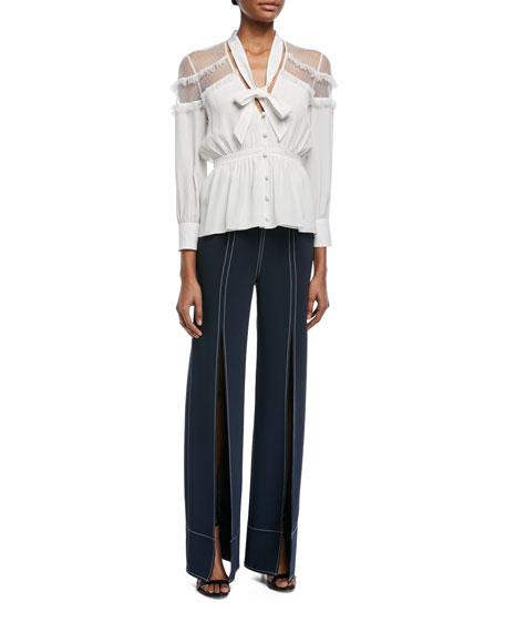 Peyton Tie-Neck Button-Front Silk Blouse