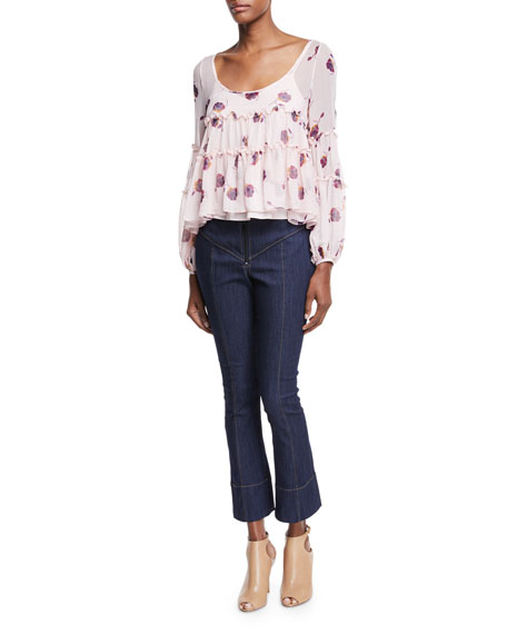 Tumbling Jasmin Scoop-Neck Blouse