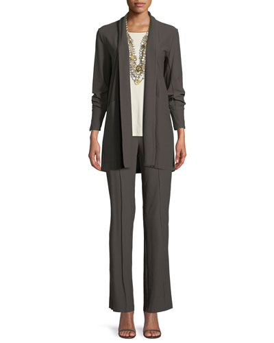 Stretch-Crepe Open-Front Long Jacket and Matching Items