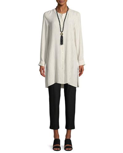 Painterly Striped Silk Long Shirt, Petite and Matching Items
