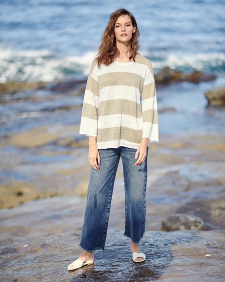 Organic Linen Striped Knit Top, Petite