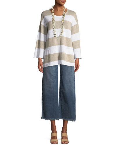 Organic Linen Striped Knit Top, Plus Size and Matching Items