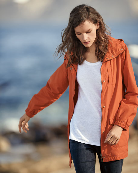 Plus Size Washed Organic Cotton-Blend Hooded Anorak Jacket