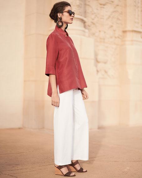 3/4-Sleeve Silk Doupioni Shirt