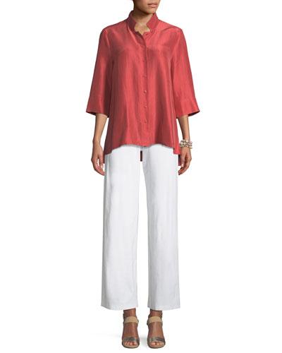 3/4-Sleeve Silk Doupioni Shirt, Petite and Matching Items