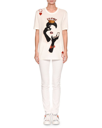 Short-Sleeve Queen of Hearts Glove-Print T-Shirt and Matching Items