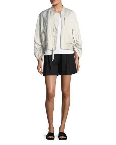 Ruched-Sleeve Parachute Bomber Jacket and Matching Items