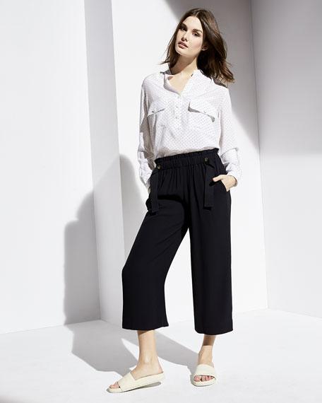 Polka-Dot Long-Sleeve Silk Utility Shirt