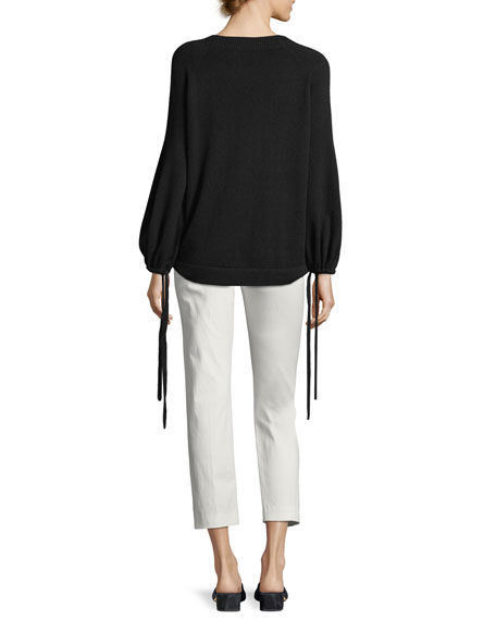Cashmere Scrunch-Sleeve Pullover Top