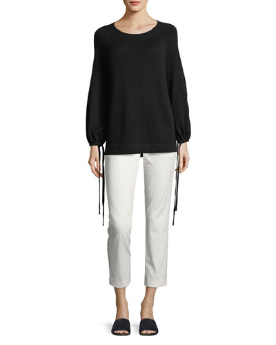 Cashmere Scrunch-Sleeve Pullover Top and Matching Items