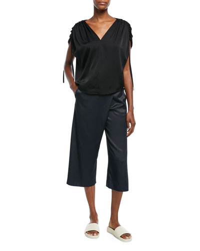 Satin Crossover Culotte Pants and Matching Items
