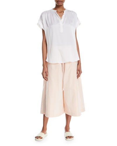 Drawstring Side-Slit Cropped Culotte Pants and Matching Items