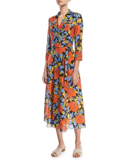 Floral-Print Voile Maxi Wrap Dress