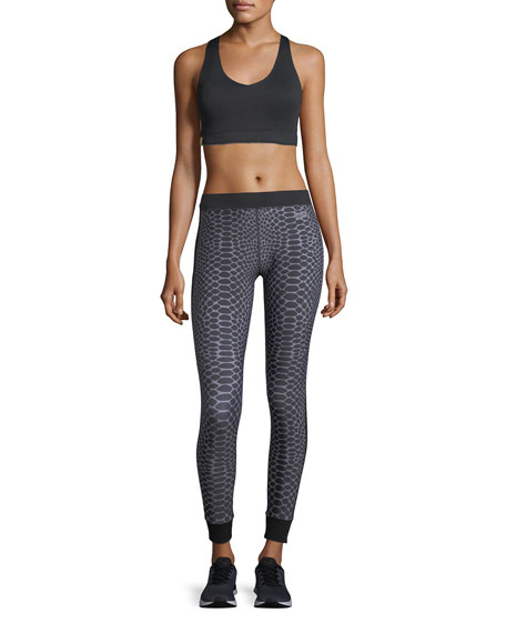 Athlete Silver Reptile Ankle-Length Compression Leggings
