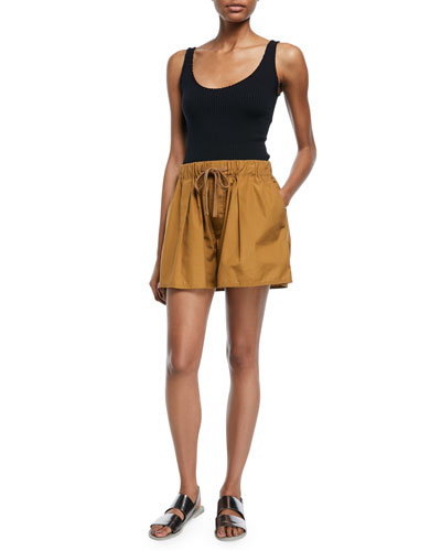Pleated Self-Tie Cotton Shorts and Matching Items