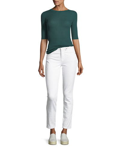 Ribbed Wool Elbow-Sleeve Top and Matching Items
