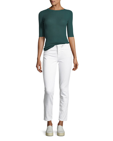Ribbed Wool Elbow-Sleeve Top