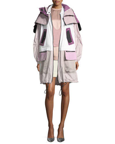 Long-Sleeve Techno Colorblocked Oversized Sport Parka Jacket and Matching Items