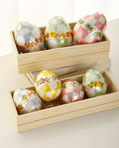 Pastel Medium Floral Eggs, Set of 4  and Matching Items