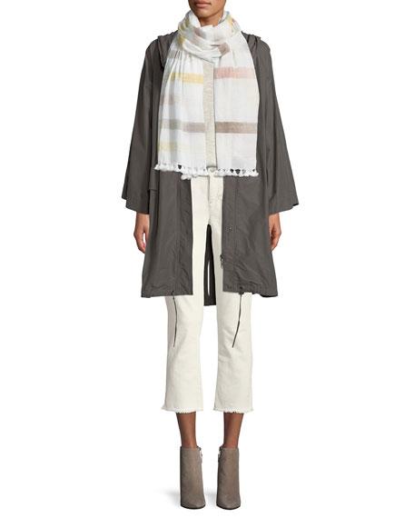 Hooded Organic Cotton/Nylon Anorak Jacket, Plus Size