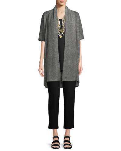 Rib-Knit Linen Open-Front Cardigan and Matching Items