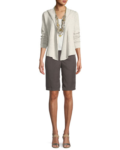 Organic Linen Waffle-Knit Hooded Cardigan and Matching Items